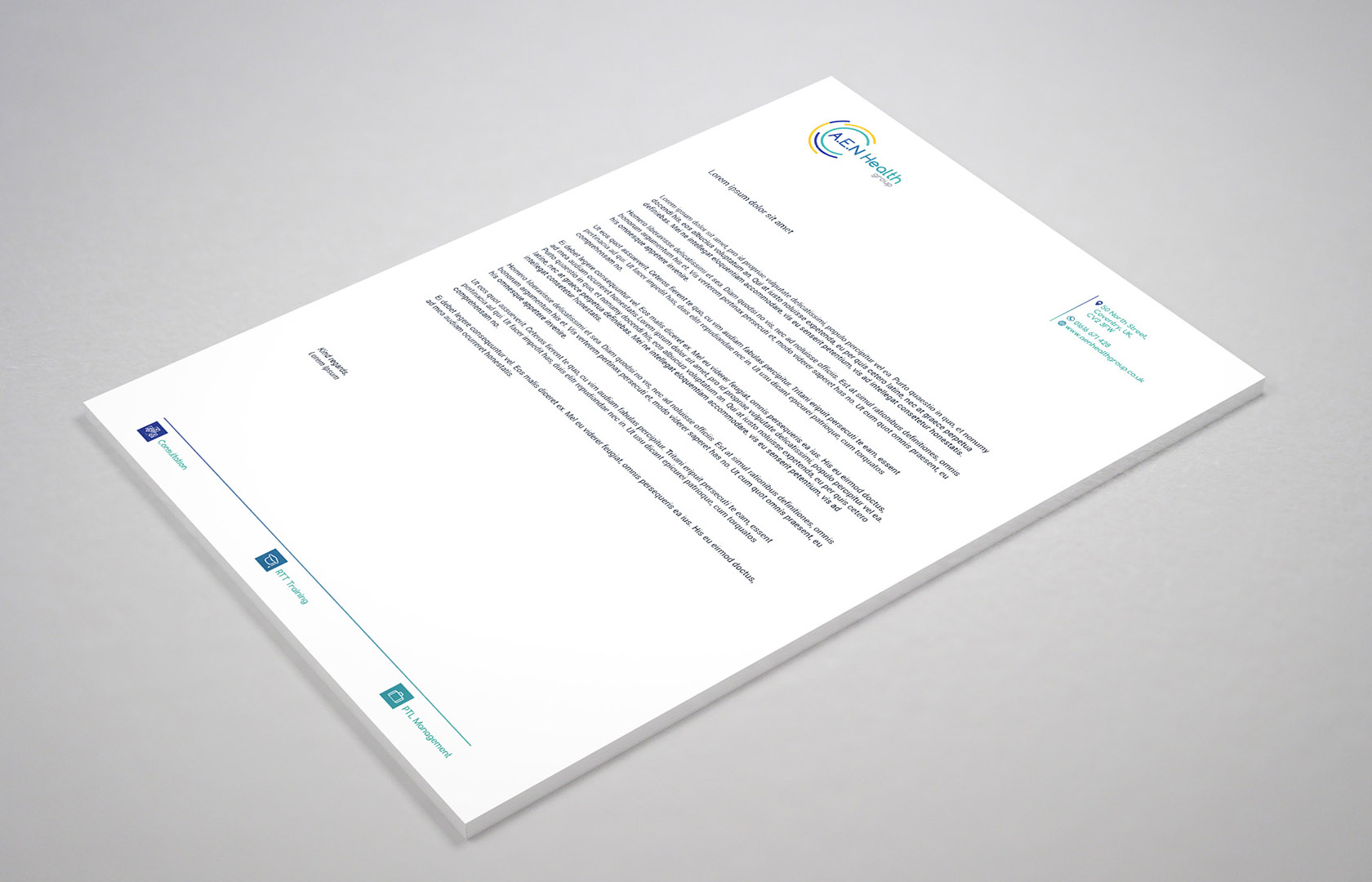Aen health group letterhead